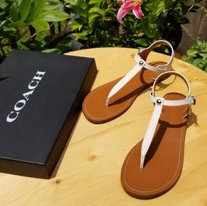 Coach 9.5  T strap leather sandals new in box